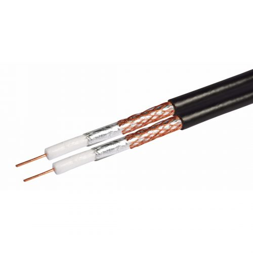 Philex Shotgun RG6 Satellite cable - Black - 125m