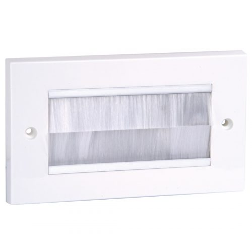 Philex Double Cable entry/exit faceplate - white brush