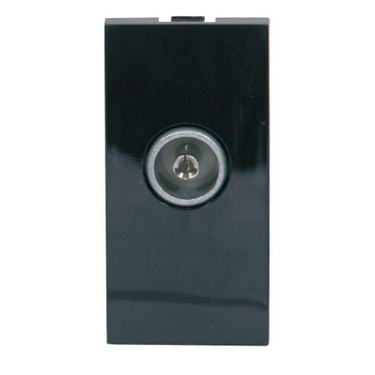 Screened Single IEC Coax Outlet Module 25 x 50mm Black, Non-isolated