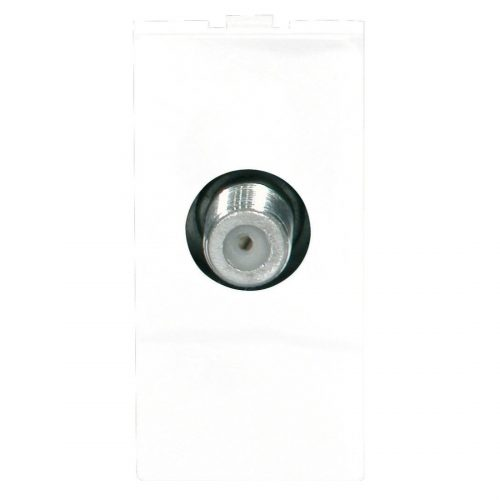 Screened Single F-type Satellite Outlet Module 25 x 50mm White