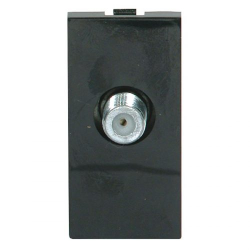 Screened Single F-type Satellite Outlet Module 25 x 50mm Black