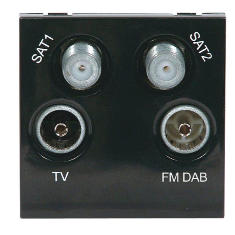 Screened Quadplexed Outlet Module 50 x 50mm Black