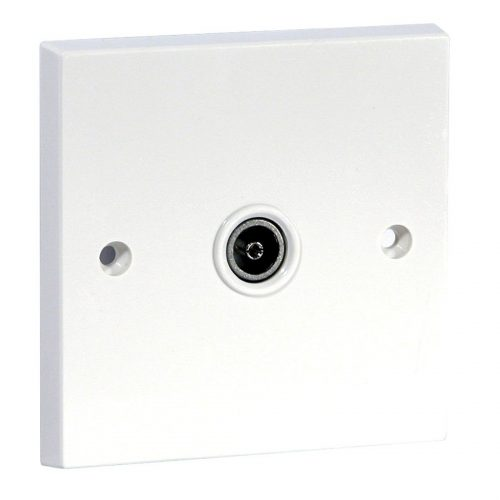 Screened Single IEC coax outlet, non-isolated