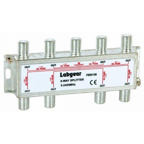 Broadband 8-way Compact Splitter, power pass all ports