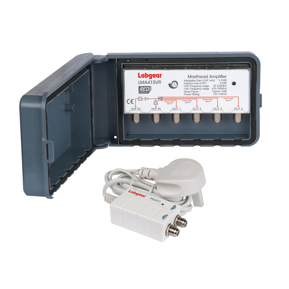 Masthead 4-way amplifier with power supply (Kit)