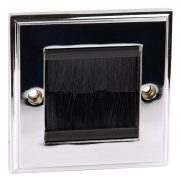 Faceplates - Philex Single Width Cable Entry/Exit Faceplate Polished Chrome