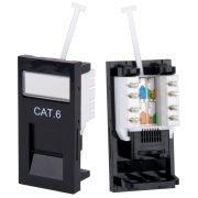 Modular System - Philex RJ45 CAT6 Outlet Module - Black